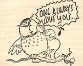 Owl Valentine's Day Rubber Stamp, Singing Always Love You K27016 Wood Mounted