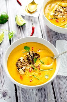 Coconut Curried Cauliflower Soup  It's a little spicy - 1 tbsp curry is enough  - nk