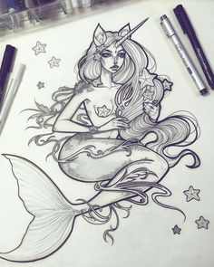 ✨Mermicorn✨ - the clean skin version 🦄🐬⚜ I love working on the little flash sheets for the tattoos on these ink drawings ☺️💕 Shipping some… Tattoo Drawings, Cool Drawings, Tattoo Ink, Art Du Croquis, Creation Art, Mermaid Tattoos, Octopus Tattoos, Art Inspo, Art Sketches