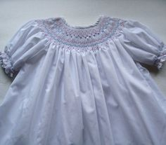 White Smocked Dress Vintage 70s Girl by MidnightFlight