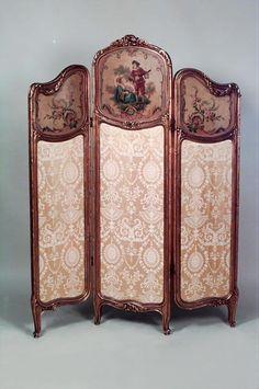 French Louis XVI screen 3 fold gilt