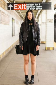 Name: Jenny Peng Job: WriterWhat She's Wearing: Vintage dress, Sandro leather jacket, Dr. Martens shoes, Prada bag, and Catbird and Verameat rings.Spotted On: The L trainAll black everything. Yes.