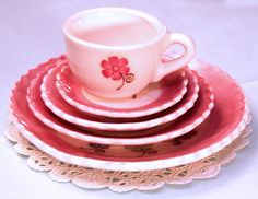 Pink Dinnerware Place Setting - Dolly's Dining Room is full of wonderful foods just waiting for your doll to sample. From salad to dinner to dessert these cute dishes will make your doll's dining experience fabulous! Each set includes one dinner plate, one salad plate, one dessert plate and a cup and saucer.