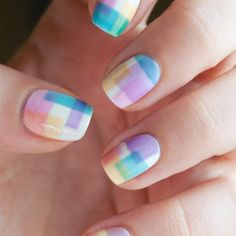 Geometrical Sheer Tints nail art by Chasing Shadows