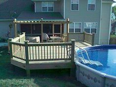 Above Ground Pool Privacy Screen deck verret | above-ground pool deck with tempered glass railing