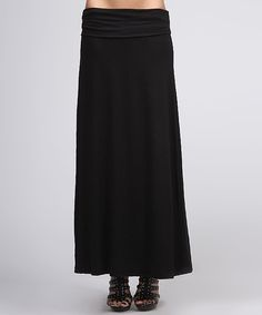 Loving this BOLD & BEAUTIFUL Black Ruched Maxi Skirt on #zulily! #zulilyfinds