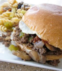 Philly Cheese Steak Sloppy Joes Dinner Then Dessert. Philly Cheesesteak Sloppy Joes Recipe Six Sisters' Stuff. Philly Cheesesteak Sloppy Joes I Am Homesteader. Home and Family Great Recipes, Dinner Recipes, Favorite Recipes, Beef Dishes, Food Dishes, Main Dishes, Planning Menu, Sloppy Joes Recipe, Salads