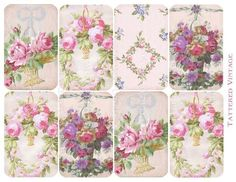 Shabby Roses Tags Instant Download no.276 Antique Wallpaper Collage Sheet Tattered Vintage 276