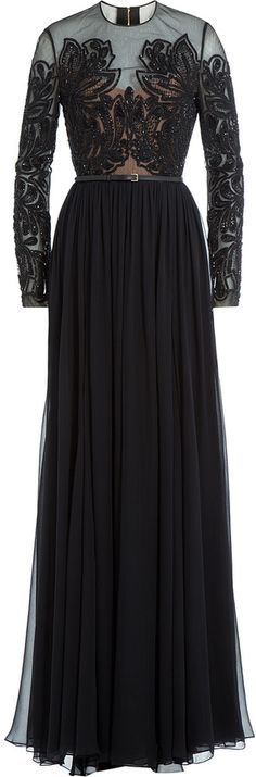 Elie Saab Embellished Silk Floor-Length Evening Gown