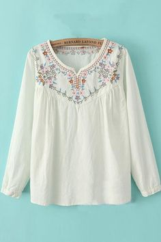 Delicate and  PRETTY! Super Feminine Vintage Embroidered Neckline Loose Fitting Peasant Blouse #embroidered #peasant_blouse #fashion