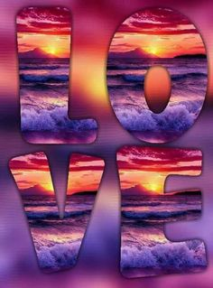 Every kit gives you a chance to create a work of art you can be proud of. This diamond painting kit I Love The Beach, All You Need Is Love, Peace And Love, Sunset Love, Ocean Sunset, Purple Love, All Things Purple, Love Images, Love Pictures