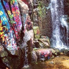Graffiti falls- riverside hike Southern California waterfall