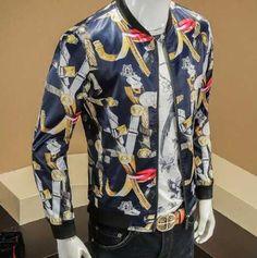5XL plus size bomber jacket for men full of geometric jacket coat