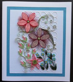 Quilled flowers Quilling Flowers, Quilling Cards, Paper Quilling, Quilled Creations, Quilling Jewelry, Floral Designs, Artworks, Birthday Cards, Projects To Try