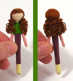 "Clothespin dolls ""tutorial"". I remember mom making curly hair---too cute."