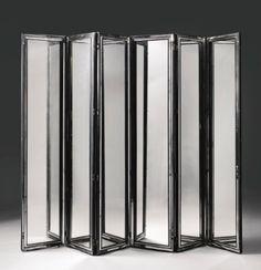 SERGE ROCHE  SIX-PANEL SCREEN circa 1940  mirrored glass and lacquered wood  221.3 x 49.8 x 3.2 cm  Estimate: 100,000 - 150,000 USD