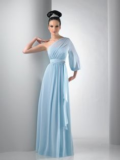 Blousant sleeve one shoulder chiffon gown. Waist sash feeds through brooch. Solid only. For White or Ivory reference style Part of the Bari Jay Bridesmaid Dresses Collection. Plus Size Bridesmaids Gowns, Bari Jay Bridesmaid Dresses, Designer Bridesmaid Dresses, Plus Size Party Dresses, Prom Dresses Uk, Bridal Wedding Dresses, Blue Wedding, Dresses 2013, Dream Wedding