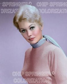 Kim novak wearing pink with blue scarf beautiful color photo by chip springer Golden Age Of Hollywood, Vintage Hollywood, Hollywood Stars, Classic Hollywood, Marilyn Monroe, Kim Novak, Stars Then And Now, Famous Movies, Movie Photo