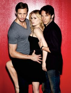 True Blood, TV - Alexander Skarsgard, Anna Paquin, Stephen Moyer.  Based on 'The Southern Vampires Mysteries' series of novels by Charlaine Harris (2001 on).