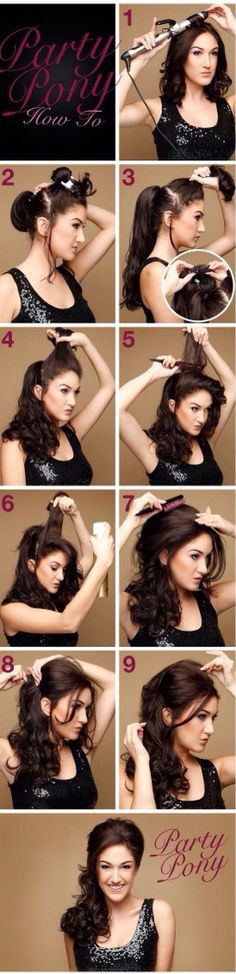 Wedding Hairstyles Half Up Half Down : Picture Description Party Pony Hair Tutorial- cute look, thinking of skipping some steps with a velcro Hair Dos, Your Hair, Pretty Hairstyles, Wedding Hairstyles, Quick Hairstyles, Quinceanera Hairstyles, Easy Hairstyle, Summer Hairstyles, Medium Hairstyles