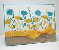 handmade card: Thinking of You by TreasureOiler ... color challenge: Paper Players #157 ... turquoise, yellow, kraft .... clean lines ...  flower silhouettes in blue and yellow ... Peaceful Wildflowers .,.. lovely card!!