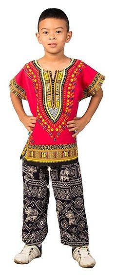 Kids African Dashiki Shirt - Magenta