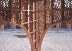 Architecture, India, natural ventilation, sandstone, Indian Architecture, bazaar, Gallery, carousel showcase, arches, Archohm, Avadh Shilpgram, Lucknow, urban bazaar, India bazaar, Red Agra, food court, spiral architecture