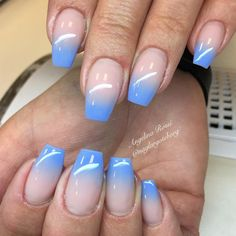 32 Trendy and Glamorous Ombre Coffin Nails for Your Inspiration; Ombre coffin na… 32 Trendy and Glamorous Ombre Coffin Nails for Your Inspiration; Coffin Nails Ombre, Blue Ombre Nails, Baby Blue Nails, Pink Nails, My Nails, Acrylic Ombre Nails, Ongles Roses Clairs, Baby Shower Nails, Nailart