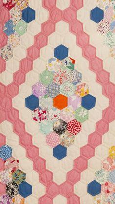 Flower Garden in Diamonds, detail   Susan Dague Quilts.