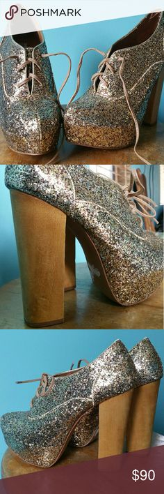 Gold glitter high heel booties Worn once  basically new   Great price considering what I originally paid !   Size 8    Reasonable offers accepted,   please use the offer button Steve Madden Shoes Heels
