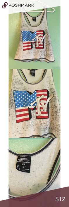 Mtv crop top tank top Vintage vibes tank top with Mtv print • semi sheer • forever21 brand • fits M/L Tops Crop Tops