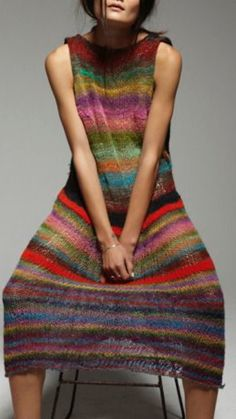 Mohair And Stripes Knitted Maxi Dress Wool Couture Mohair And ! mohair and stripes - robe longue en maille de laine couture mohair and Knitwear Fashion, Knit Fashion, Runway Fashion, Fashion Outfits, Wool Dress, Knit Dress, Crochet Shawl, Knit Crochet, Poncho Pullover