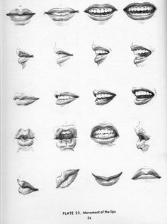Different angels and shapes of drawing a mouth