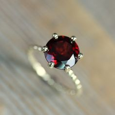 SIZE 7 Ready To Ship, Crimson Red Garnet RIng and Recycled Gold Ring, Six Prong Solitaire Ring in 14k Yellow Gold, Art Deco. $698.00, via Etsy.