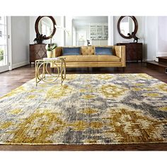 Living Room: Yellow and gray rug and yellow/tan leather sofa Xavier Grey Gold Transitional Loloi Rug Tan Leather Sofas, Leather Sectional Sofas, Yellow Leather, Gold Couch, Gold Rug, Room Rugs, Rugs In Living Room, Living Room Decor, Area Rugs