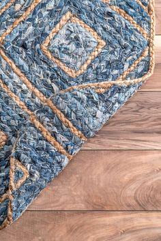 Boardwalk Hand Braided Jute Diamonds On Denim Blue Rug – Braided Rugs Diy Indian Braids, Braided Rag Rugs, Denim Rug, Rugs Usa, Jute Rug, Sisal, Floor Rugs, Rugs On Carpet, Blue Denim