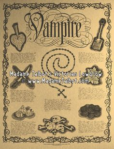 Recipes on How to Kill a Vampire Poster - All Hand-drawn, no computers were used. Offset printed on parchment.