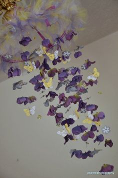 Butterfly mobile Lavender Yellow Gray and Purple  by Sastara, $58.00