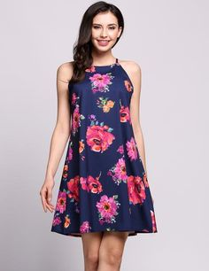 Halter Sleeveless Floral Print Back Button Going Out Tunic Dress