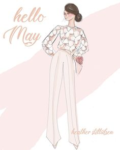 Oh hello beautiful May.it's time for flowers, white pants and celebrations! Bon Weekend, Hello Weekend, Hello May, Hello Beautiful, White Pants, Cute Illustration, Beautiful Artwork, Beautiful Pictures, Girl Power