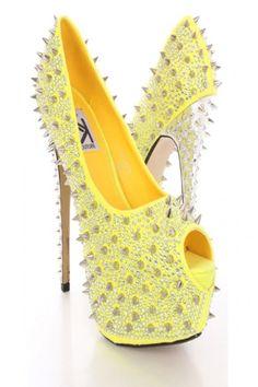 Yellow Rhinestone Spike Studded Platform Pump Heels @ Amiclubwear Heel Shoes online store sales:Stiletto Heel Shoes,High Heel Pumps,Womens High Heel Shoes,Prom Shoes,Summer Shoes,Spring Shoes,Spool Heel,Womens Dress Shoes,Prom Heels,Prom Pumps,High Heel S