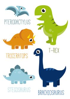 Poster Dinosaurus A3 Leuke kinderkamer poster in A3 formaat met vijf verschillende dino's. kinderkamer babykamer jongens jongenskamer Dinosaur Birthday Cakes, 1st Boy Birthday, Cute Dinosaur, Dinosaur Party, Dinosaur Posters, Dinosaur Nursery, Baby Dinosaurs, Kids Corner, Cute Drawings