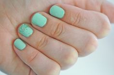 Perfect nails for summer! Essie's Mint Candy Apple & Martha Stewart's Aquamarine Glitter