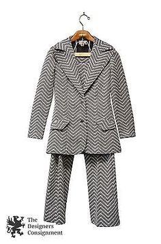 Vtg Sears Womens Pant Suit Gray White Zig Zag Pattern Size 9/10 Retro Mid Modern