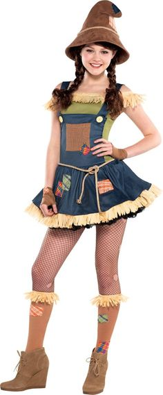 Sweet Scarecrow Costume for Teen Girls - Party City Like if u want me to be this for Halloween! Cute Scarecrow Costume, Halloween Costumes For Teens Girls, Halloween Costumes Scarecrow, Cute Costumes, Girl Costumes, Scarecrow Hat, Costume Ideas, Farmer Girl Costume, Scarecrow Ideas