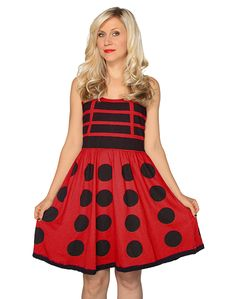 Exterminate boring fashion with the Her Universe officially licensed Doctor Who Red Dalek Dress! No one will mistake your Doctor Who enthusiasm but you might see a few cosplaying Doctor's run off when
