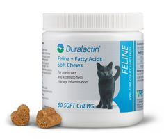 Feline Products | Duralactin Recommended to help support healthy skin and manage inflammation. Duralactin® Feline + Fatty Acids Soft Chews contain MicroLactin®