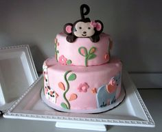 baby+showers+for+girls | Monkey Baby Shower Cakes for Girls