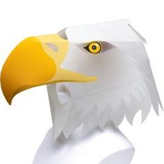 This papercraft is a life size Eagle Helmet, designed by Chappy Okamoto for… Paper Mask, 3d Paper, Paper Toys, Eagle Mask, Looks Halloween, Halloween Masks, Halloween Crafts, Cartoon Paper, Bird Masks