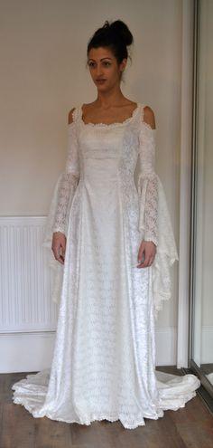 Medieval / Lace / Elvish / Pre- Raphaelite / Gothic / Renaissance / Larp / Faery / Wedding Dress. $391.00, via Etsy.